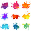 colorful paint splats collection set