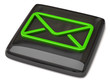 Black email icon on white background