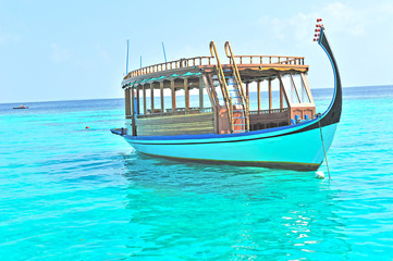 Boat on maldives sea
