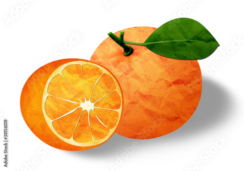 one and half oranges from paper craft