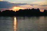 Sunset on Neva river poster