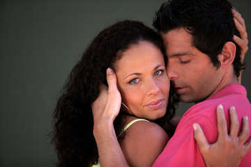 Couple in a passionate embrace