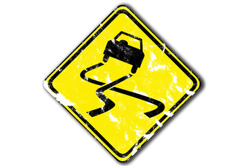grunge traffic sign, warning slippery, paper craft