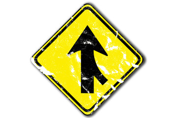 grunge yellow traffic arrow sign one way traffic, paper craft