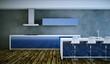 Küchendesign - Küche im Loft blau weiss