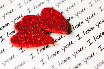 I LOVE YOU in print and sparkly hearts