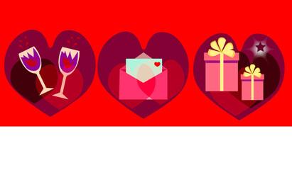 background with Valentins symbols