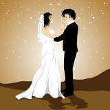 Vector illistration of a loving couple on twinkle star backgroun poster