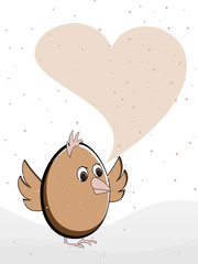 Vector illustration of a greeting card heaving a bird with copy