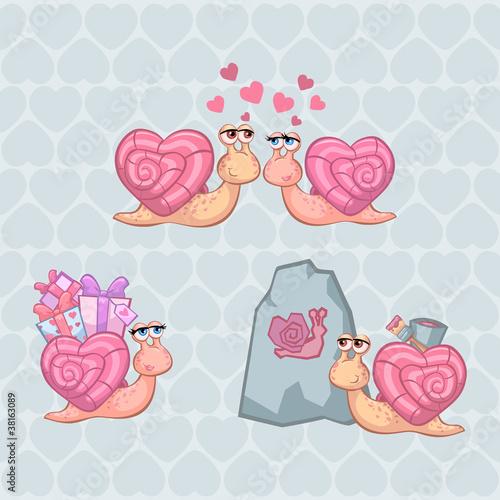 Fototapeta Valentine's Day Illustration Set with Funny Snails in vector