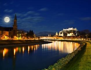 Salzburg city view at night.