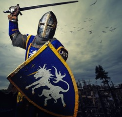 Medieval knight against hill full of crosses.