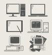 computer new and old set icon vector illustration