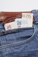 euro money in jeans pocket
