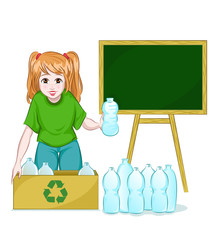 girl recycling bottles