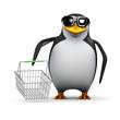 3d Penguin shops for bargains in the sales