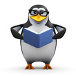 3d Penguin is engrossed reading a very good book
