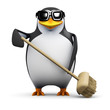 3d Penguin sweeps up the mess with a broom