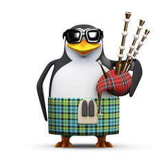 3d Penguin is playing bagpipes in his kilt