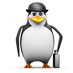 3d Penguin businessman with briefcase in hand
