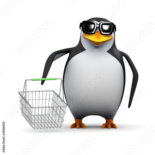 3d Penguin shops for bargains in the sales