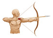 Strong archer with bow and arrow
