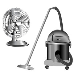 silver wind fan and vacuum cleaner