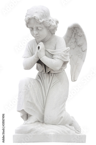 Statue of a child angel praying isolated on white