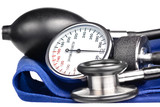 Sphygmomanometer and stethoscope kit  isolated on white