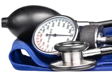 Sphygmomanometer and stethoscope kit  isolated on white