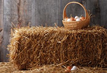 Basket of eggs on hay bale