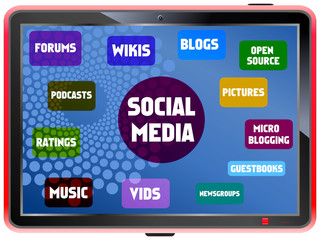 Social media and network concept, on a fictional tablet Pc