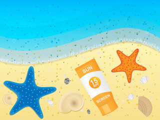 Sunblock cream on sand background. Vector illustration.