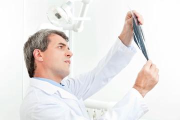 Zahnarzt betrachtet Röntgenbild von Gebiss