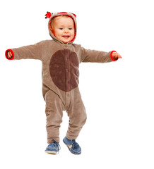 Adorable baby in costume of Santa Claus's reindeer dancing