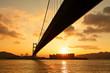 tsing ma bridge in sunset