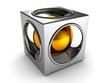 abstract silver cube and golden ball inside
