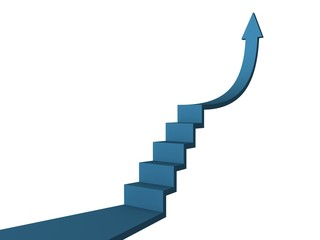blue concept arrow ladder of business success
