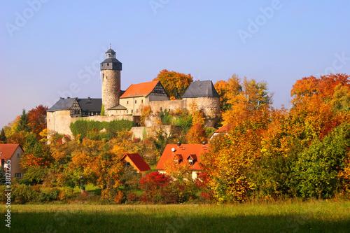 canvas print picture Burg Zweritz im Herbst, Franken