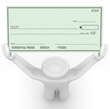 Person Holding Large Blank Check Wealthy Payout poster