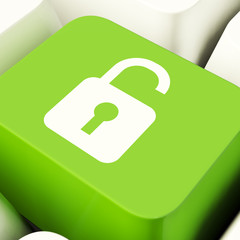 Unlocked Padlock Computer Key In Green Showing Access Or Protect