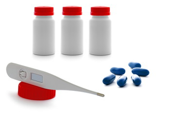 Drugs, thermometer and health protection concept