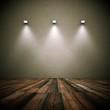 Wohndesign Dekowand grunge mit Lampen 1