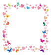 vector hearts and butterflies cartoon frame