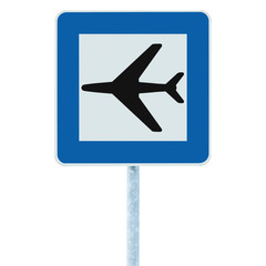 Airport road sign, blue isolated traffic signage, airplane icon