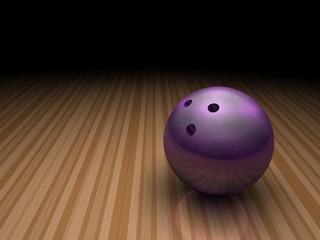 purple bowling ball in bowling lane
