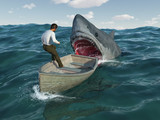 Shark attacks man in a boat