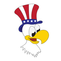 American patriotic eagle with hat on his head