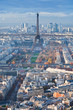 panorama of Paris in winter afternoon