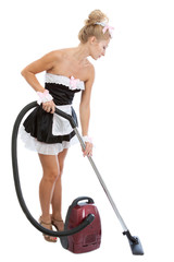 Young sexy maid with vacuum cleaner